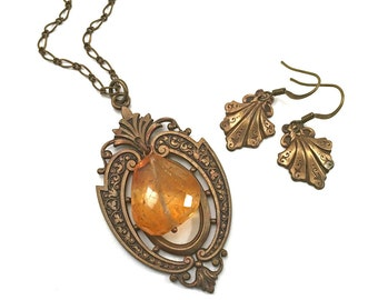 Vintage inspired necklace and earring set - vintage frame and citrine nugget