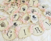 Its a Girl Banner or Its a Boy w/ribbons - French Baby Shower Garland Bunting - Sprinkle - Small Medium Large - Paris Shower