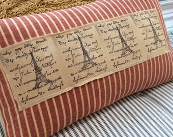 FrenCH PariS Cottage 12x20 Pillow/Shabby Chic/Hand Stamped Ribbon/Lumbar Throw Pillow/Bedroom/Loft/Urban
