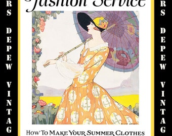 Vintage Sewing Summer 1926 Fashion Service Magazine Dressmaking Ebook Featuring Hats & Dresses -INSTANT DOWNLOAD-