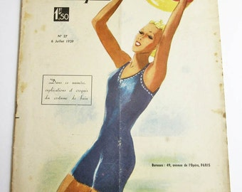 1930's Vintage French Magazine La Mode Pratique July, 1939 WWII Fashion & Sewing Pattern