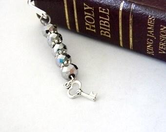 Skeleton Key Bookmark with Silver Glass Beads Shepherd Hook Steel Bookmark Silver Color