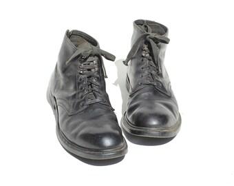 Vintage Men's Black Leather Steel Toe Ankle Boots / size 12
