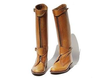 Vintage Harvest Bronze Tan Leather Front Zipper Riding Boots / 9