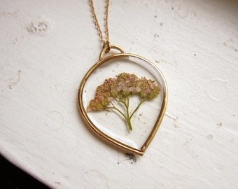 Pressed Yarrow Necklace ||| In the Looking Glass / Pressed Flower Pendant