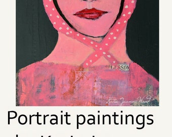 Acrylic Mixed Media Painting. Girl Portrait Canvas Painting. Pink Collage Art. Pink Kerchief with White Polka Dots