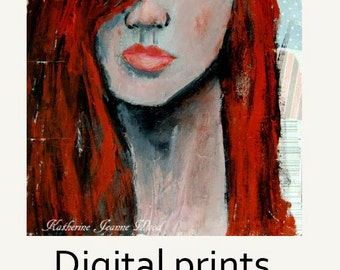 Red Haired Girl From Texas Portrait Painting Print. Wall Art Prints. Bedroom Wall Decor. Texan Wall Art Prints.