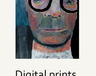 Man Portrait Painting Print. Man Wearing Black Glasses Digital Print. Living Room Wall Art Print Decor