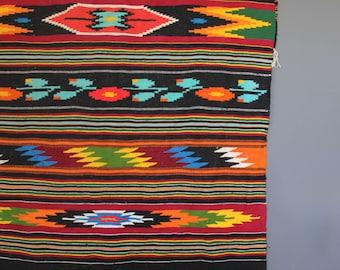 Large Colorful Southwestern Rug / Blanket - 4 feet x 6.5 feet