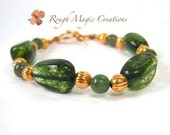 Green Bracelet. Tourmaline Gemstone Bracelet. Green and Copper. Maine State Stone. Moss Agate. Chunky Bracelet by Rough Magic Creations