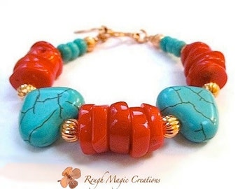 Genuine Turquoise Stone Bracelet. Red Coral Colorful Boho Southwestern Jewelry. Romantic Gift for Woman. Chunky Hearts. Forged Copper Toggle
