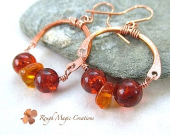 Baltic Amber Earrings. Copper & Genuine Amber Stones. Boho Chic Gypsy Style Jewelry. Large Metal Horseshoe Earrings. Real Amber Gemstones