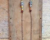 Shoulder Duster Earrings // Southwestern Jewelry // Handpainted Beads // Beaded Long Chain Earrings // Bohemian Festival Accessories
