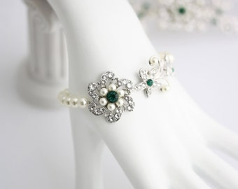 Wedding Bracelet Emerald Green Swarovski Crystal Flower Bracelet Green Wedding Jewelry Bridal Jewelry  SABINE FINE