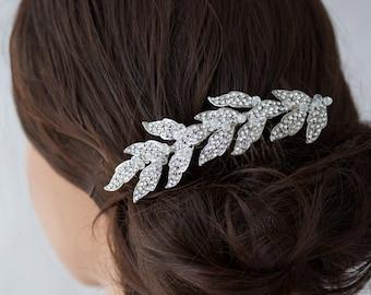 Crystal Leaf Comb Wedding Comb Bridal Hair Accessory Wedding Hair Vine Comb Crystal Wreath Comb Wedding Jewelry LEA SMALL COMB