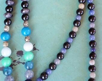 Yin Yang Agate Beaded Mala Necklace