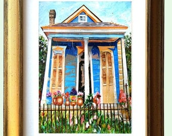 "New Orleans Antique Gold Framed Shotgun House Art ""Bloom Street"" 10.25 x 12.25"" and 13.25x16.25"" Matted Print Signed and Numbered"