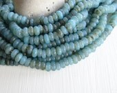 blue glass beads, turquoise lampwork beads , rondelle glass bead, disc washer Spacer, gritty aged look Indonesian (10 inches strand ) 6Ak2-6