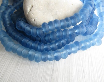 Small Blue recycled glass rondelle beads,  frosted matte  irregular uneven Indonesia  4 to 6mm  x  7 to 8mm (20 beads ) 6ak7-7