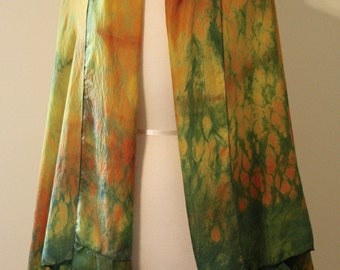 Silk Wrap Shibori Dyed with Natural Dyes in Golden Yellow, Copper, and Moss Green