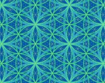 Spirograph Design Blue Enjoy the Ride Studio E Fabric 1 yard