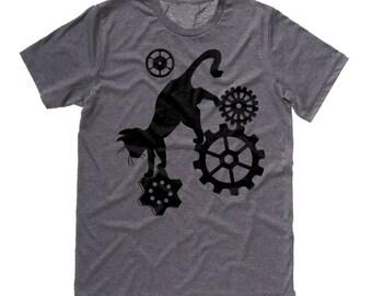 Steampunk Shirt Cat t-shirt pastel goth steampunk gears fantasy kawaii noir tee cute cat shirt plus size gothic clothing hipster