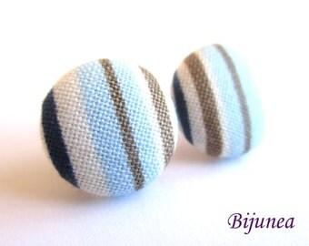 Stripe earrings - Blue stripe stud earrings - white stripes posts - Baby blue stripes post earrings sf1319