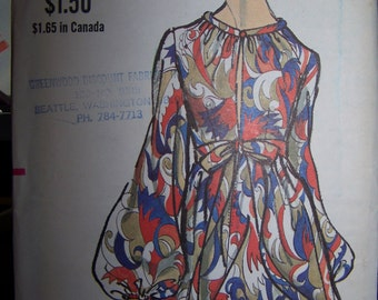 Vintage Vogue Sewing Pattern 7675 High Waisted Dress, Gathered Bodice Flared Skirt