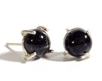 Black Star Diopside Post Earrings