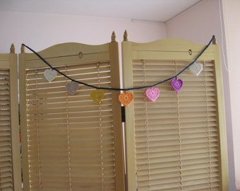 knitted heart shaped flags chain banner, knitted garland