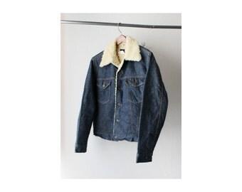 1970's Dark Wash Shearling Denim Jacket