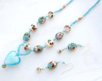 SET - Turquoise Lampwork Heart & Cloisonne Pendant