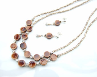 SET - Brown Ceramic Beads Two Strand