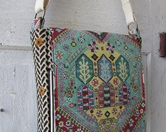 Messenger Bag adjustable strap pockets turquoise mixed fabrics recycled and new one of a kind