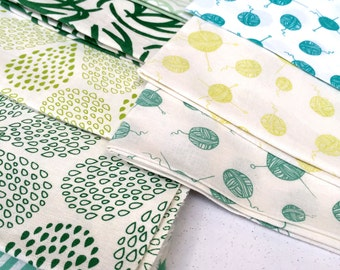 SALE Hand Printed Fabric Mini pieces - Shades of Green