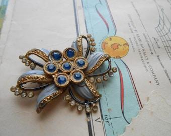 blue rhinestone and enamel gold brooch - repair repurpose condition AS IS