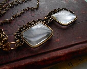 antique 1960s lorgnette glasses filigree pearls and rhinestone - vintage costume jewelry