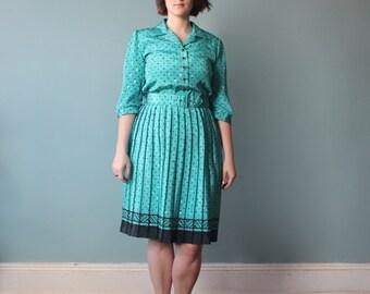 SALE plus size dress / teal black polka dot belted dress / 1980s / XL