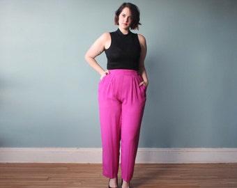 plus size pants / fuchsia high waist trousers / 1980s / XL