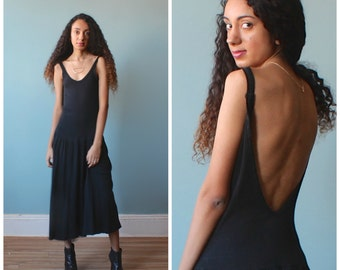 black stretch midi dress / backless tank dress / 1980s / small