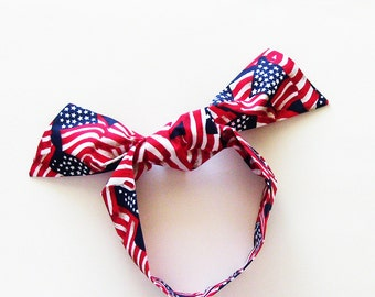 Patriotic USA Flags Head Scarf / Multipurpose Hair Accessory, Neck Tie, Handbag or Walker Adornment, Pet Neckerchief / Gift Under 25