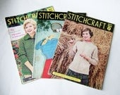3 Vintage 1950s Stitchcraft Magazines - Vintage Knitting and Embroidery Magazines from 1951, 1956 and 1960