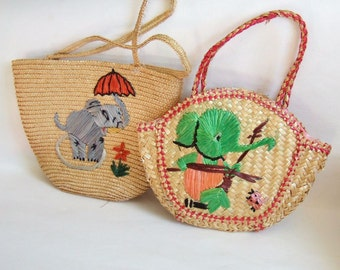 Two Kitsch Vintage Children's Bags - Cute 1960s Straw Baskets with Elephants