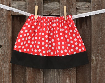 Minnie Mouse Skirt, Girls Red Polka Dot Skirt