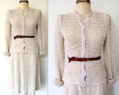 70s Crochet Dress / 1970s Pallas Dress Skirt Set / IRISH LINEN Crochet Separates Dress