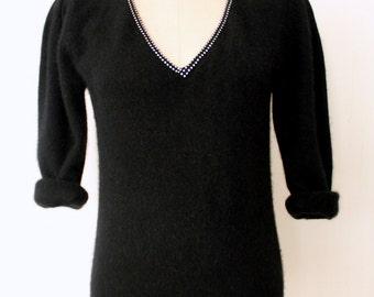 Angora Sweater / Black Wool Sweater / V-Neck Sweater / Sparkling Angora Sweater