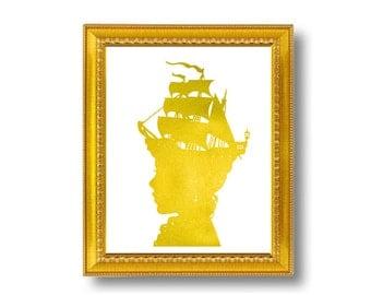 Gold Captain's Wife Nautical Silhouette Print Pirate Ship Golden and White Beach House Decor Metallic