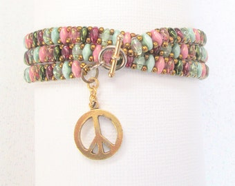 multicolor superduo wrap bracelet peace beaded bracelet wrap jewelry boho bracelet charm bracelet