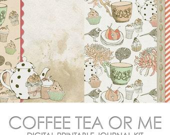 Coffee Tea or Me Digital Printable Junk Journal Kit