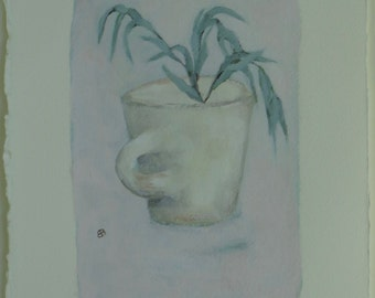 Cup with Frond - Original Painting by Elizabeth Bauman